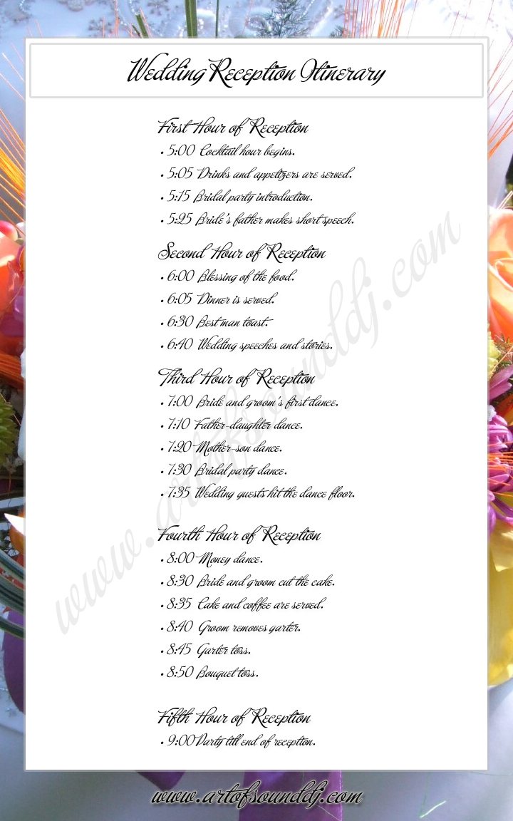 Sample Reception Timeline | Order of Events | Wedding Program